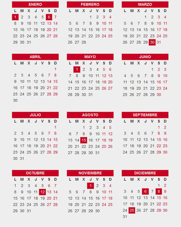 Calendario Diciembre 2018 Con Festivos.El Calendario Laboral De 2018 Incluye Diez Festivos Comunes