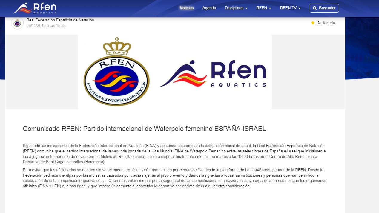 El España - Israel de waterpolo femenino, a puerta cerrada en el CAR de Sant Cugat