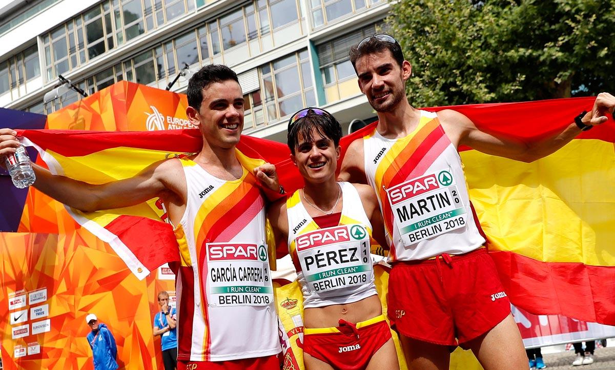 Éxito del 20 km marcha español: Álvaro Martín y María Pérez se llevan el oro, Diego García, la plata