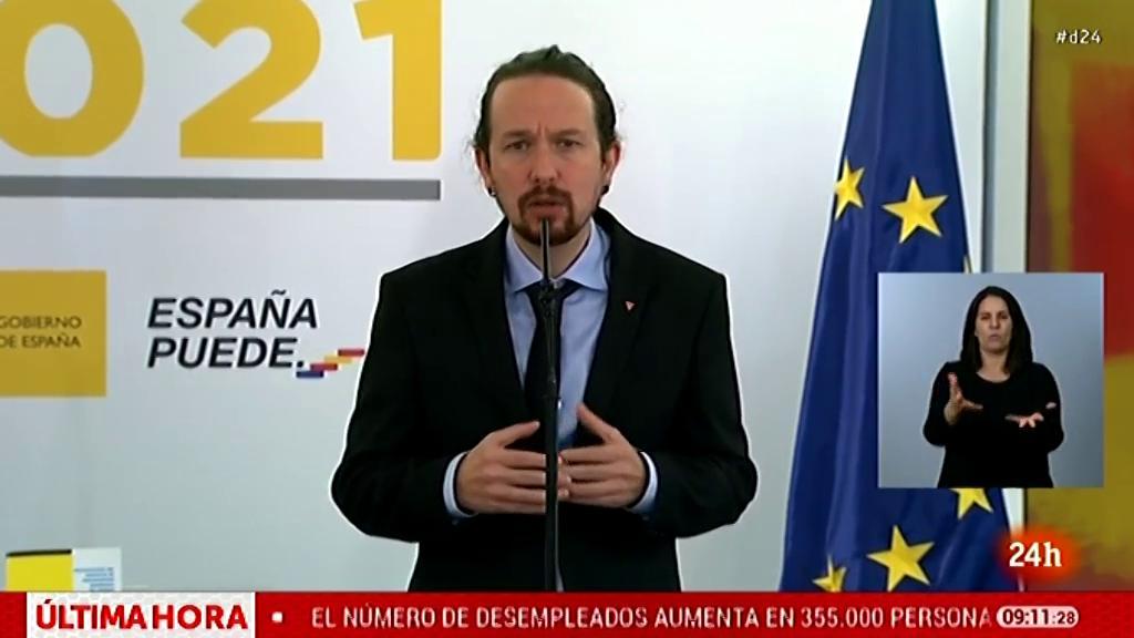 Iglesias anuncia las medidas del acuerdo para los Presupuestos, entre ellas un incremento del 46% para dependencia