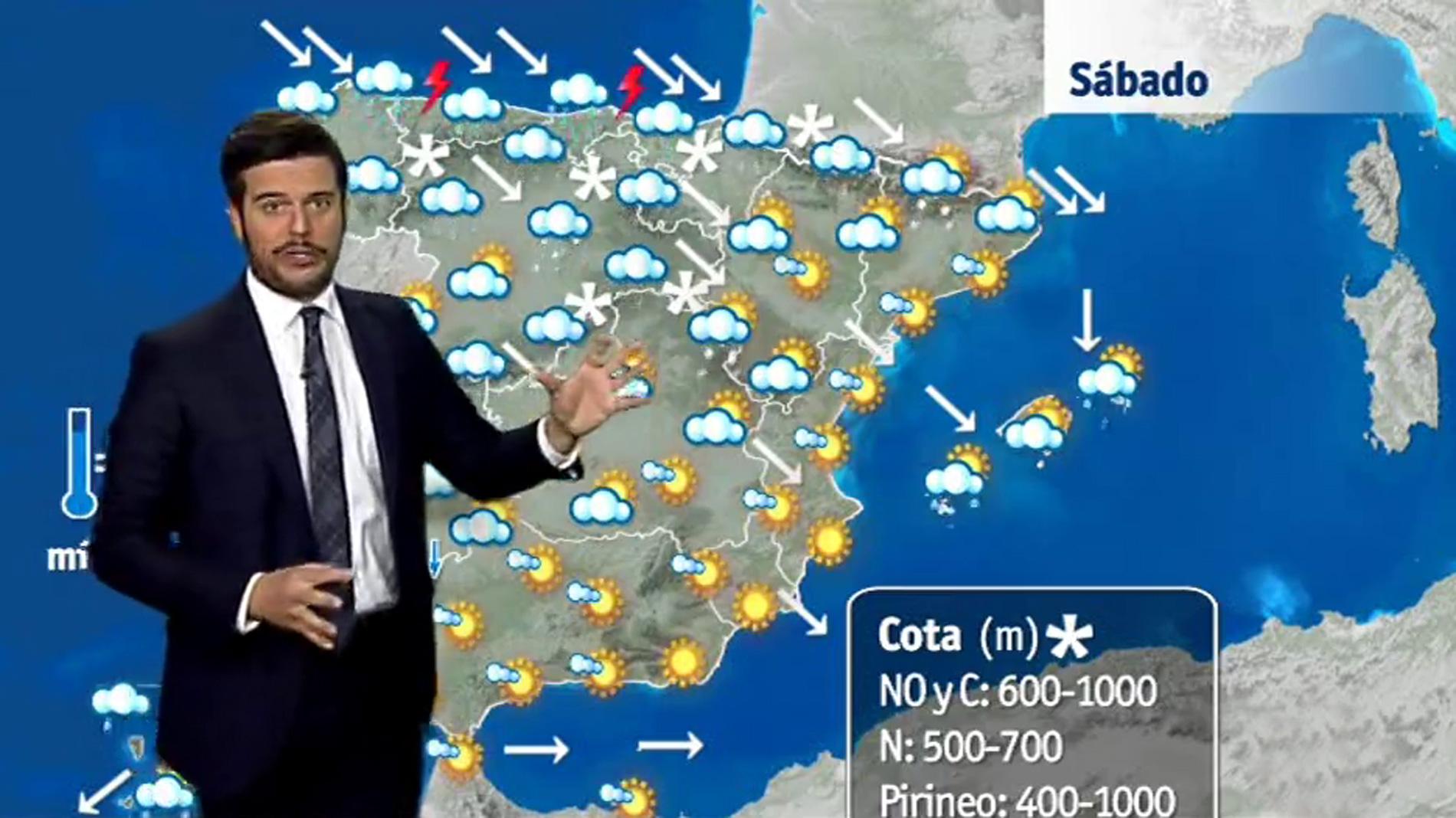 Lluvias en el Cantábrico y nevadas en zonas del norte peninsular