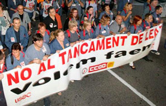 Manifestación contra el cierre de Lear en Tarragona