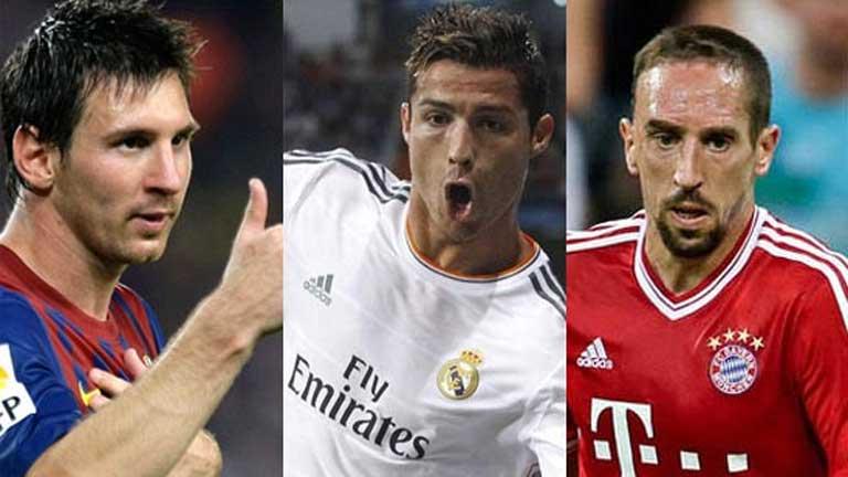 Messi, Cristiano Ronaldo y Ribéry, finalistas al Balón de Oro 2013