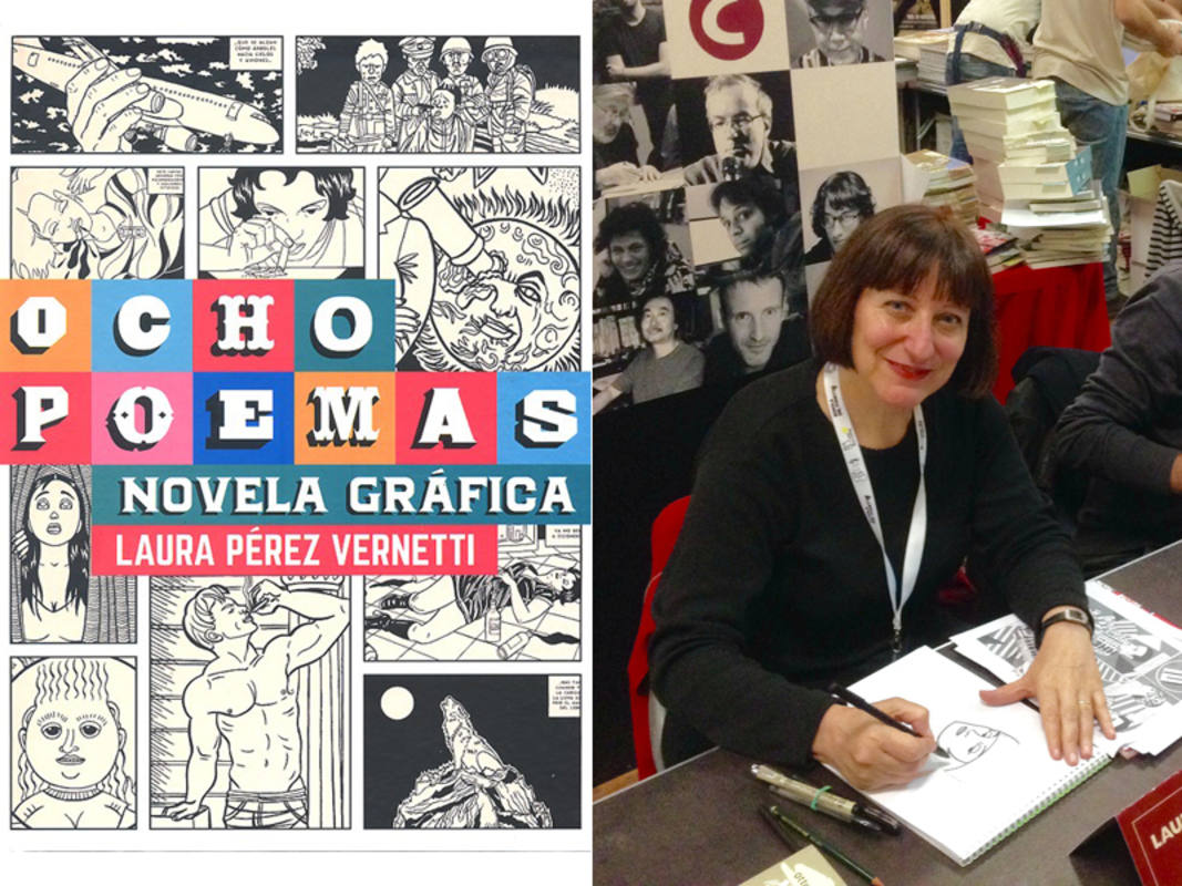 Portada de 'Ocho poemas. Novela gráfica' y Laura Pérez Vernetti en el Salón del Cómic de Lucca