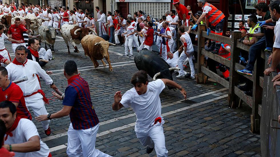 Primer encierro de San Fermín con la ganadería de Cebada Gago