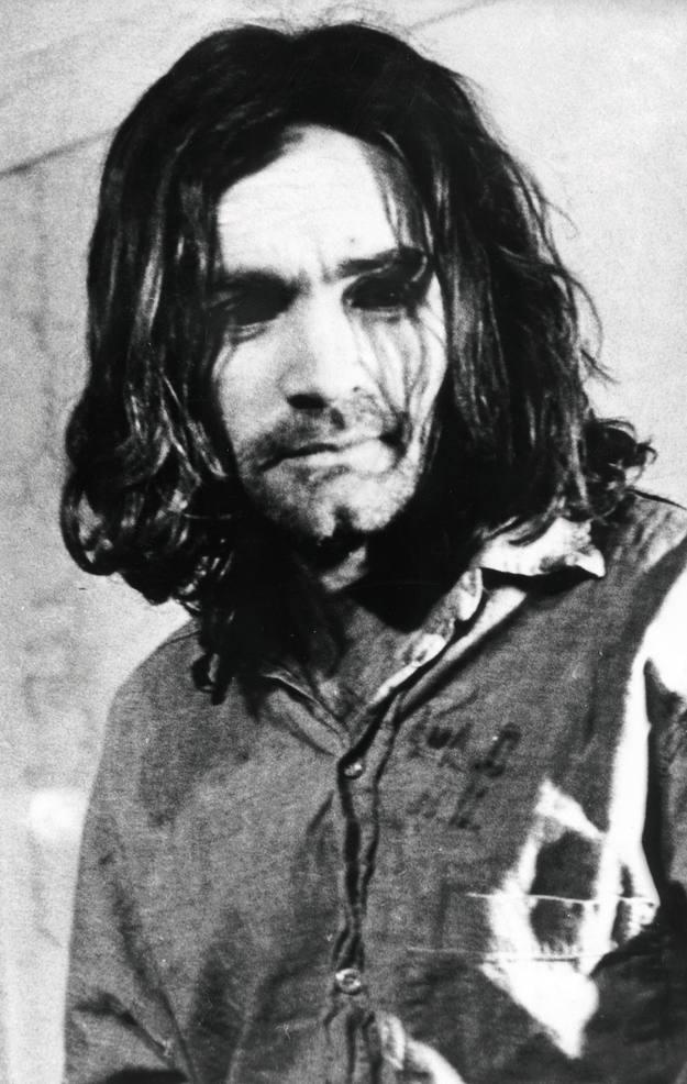 Retrato de Charles Manson durante o seu xuízo en Los Angeles