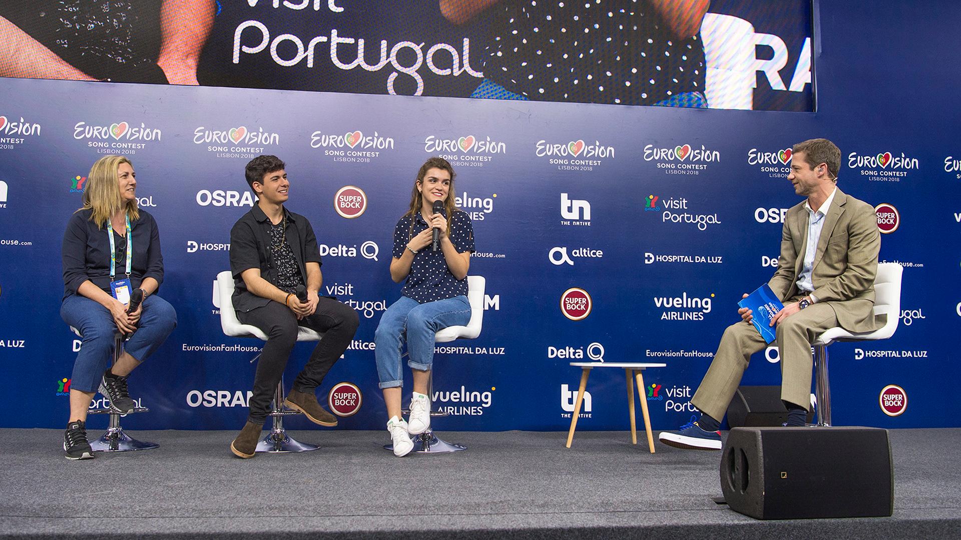Eurovisión 2018 - La rueda de prensa de Amaia y Alfred tras su primer ensayo