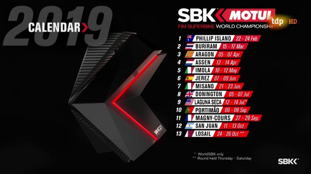 WorldSBK 2019. Más carreras en el calendario