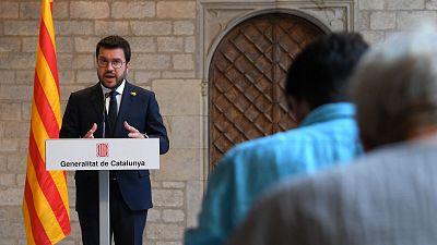 """Aragonès plantea a Sánchez el referéndum como la solución """"más inclusiva"""" y pide """"unidad"""" a Junts para negociar"""