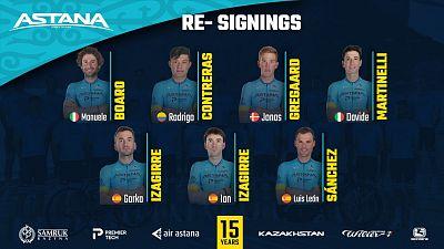 Astana renueva a Luis León Sánchez y a los hermanos Izagirre para 2021