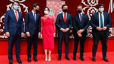 Ayuso toma posesión como presidenta de la Comunidad de Madrid junto a Casado y los barones del PP
