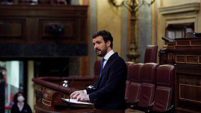 """Casado exige a Sánchez que """"cese del Gobierno"""" a los que atacan a la democracia: """"Pide unidad pero usted no la tiene"""""""