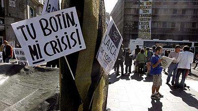 Acampada en Sol tras la manifestación del 15 de mayo contra la situación político-social