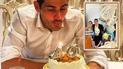 Iker Casillas sopla las velas con Sara Carbonero y sus hijos mientras la prensa habla de reconciliación