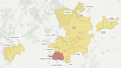 Mapa: estos son los municipios afectados por restricciones en la Comunidad de Madrid