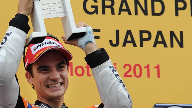 La victoria española número 400 en el Mundial de motociclismo la firmó Dani Pedrosa. El catalán fue el piloto más firme en el trazado de Motegi, donde muchos pilotos se cayeron o cometieron algún error. Pedrosa, que rodó en cabeza y en solitario desd