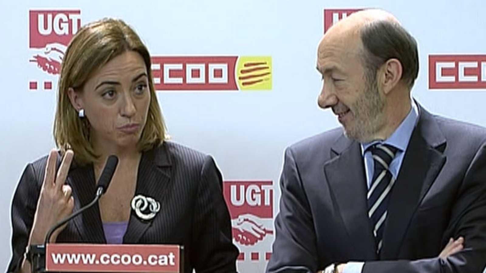 Rubalcaba pide el voto en Barcelona, junto a Carme Chacón