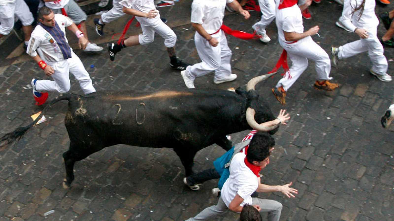 Rapidsímo y muy peligroso segundo encierro de San Fermín 2012, de Miura
