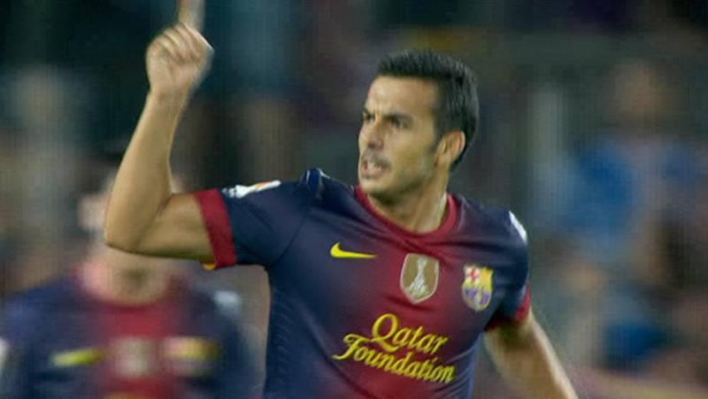 El delantero del FC Barcelona, Pedro Rodríguez, ha marcado el gol del empate para su equipo justo después de que Cristiano Ronaldo adelantase al Real Madrid, en el minuto 57 de juego.
