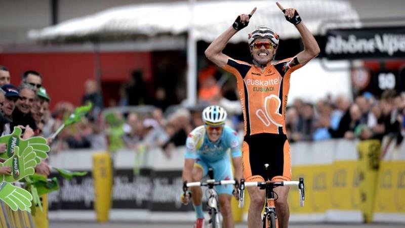 El español Samuel Sánchez (Euskatel) se ha impuesto en el séptima etapa del Dauphiné, entre Le Pont de Clais y Superdévoluy, de 187,5 kilómetros, tras la cual se mantiene como líder el británico Christopher Froome (Sky), que entró a unos diecisiete s