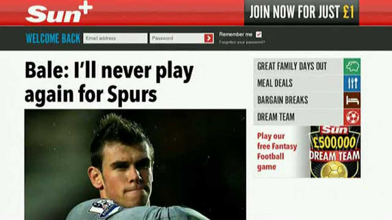 """El centrocampista galés Gareth Bale, por el que está interesado el Real Madrid, ha dicho que no volverá a ponerse la camiseta del Tottenham Hotspur, según asegura hoy el tabloide británico """"The Sun"""". El extremo de 24 años se ha confiado al parecer a"""