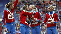 Polémica celebración de las atletas rusas del 4x400