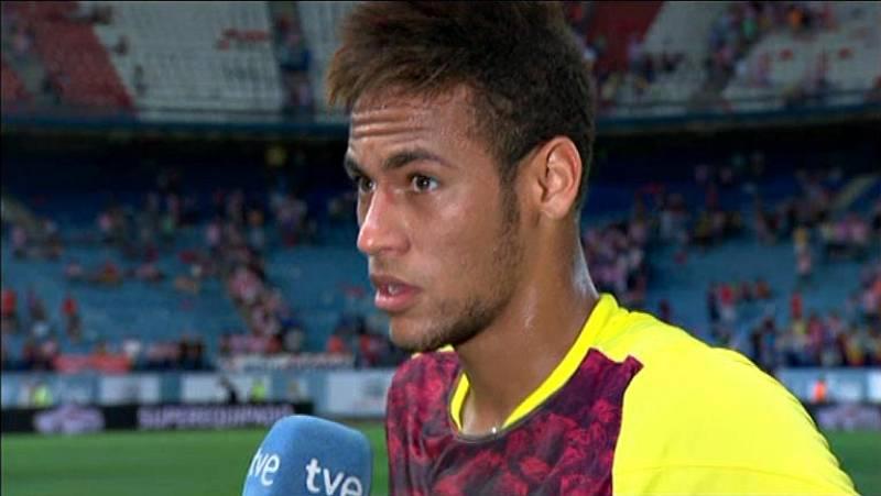 Neymar ha sido el protagonista del partido de ida de la Supercopa. Salió desde el banquillo y logró el empate con un cabezazo. Es su primer gol oficial con la camiseta del FC Barcelona.
