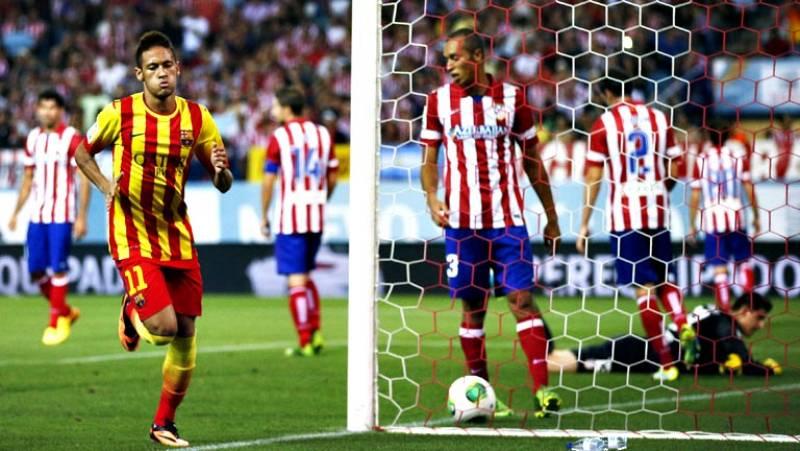 Un gol del brasileño Neymar levantó al Barcelona en un partido muy incómodo, en el que sobrevivió con un testarazo de su fichaje estrella del verano, para igualar la ida de la Supercopa de España frente a la altísima intensidad del Atlético de Madrid