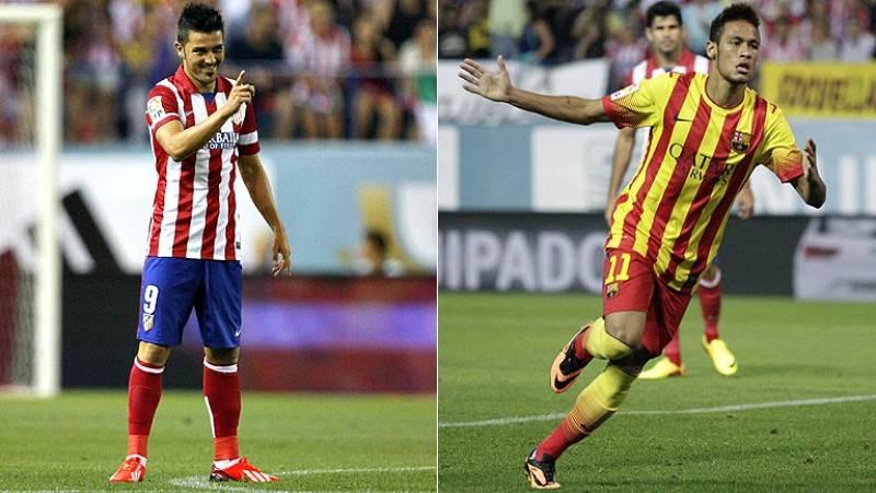 Los dos goleadores reclaman el protagonismo en el primer trofeo del curso. Diego Simeone gana el duelo táctico al barcelonista Gerardo Martino. Leo Messi, ausencia destacada entre los actores secundarios del partido.