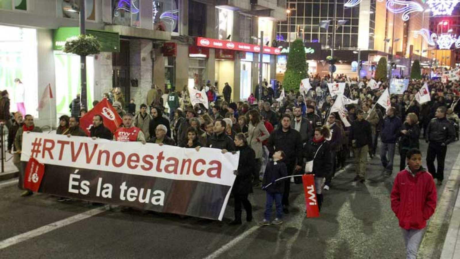 Manifestación en contra del cierre de la Radiotelevisión Valenciana