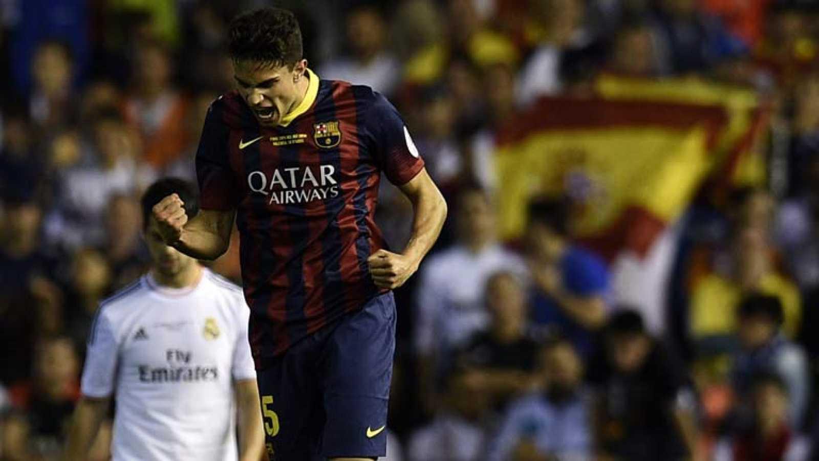 El central del FC Barcelona Marc Bartra ha marcado el gol del empate en el minuto 68, con un cabezazo a saque de esquina ante el que nada ha podido hacer Casillas.