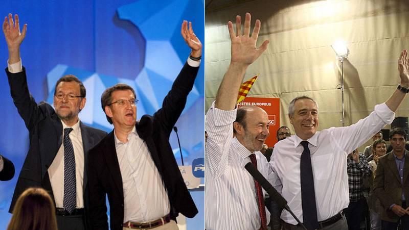 """Rajoy pide el voto para """"no volver atrás"""" y Rubalcaba para impedir un """"plebiscito"""" a favor de los recortes"""