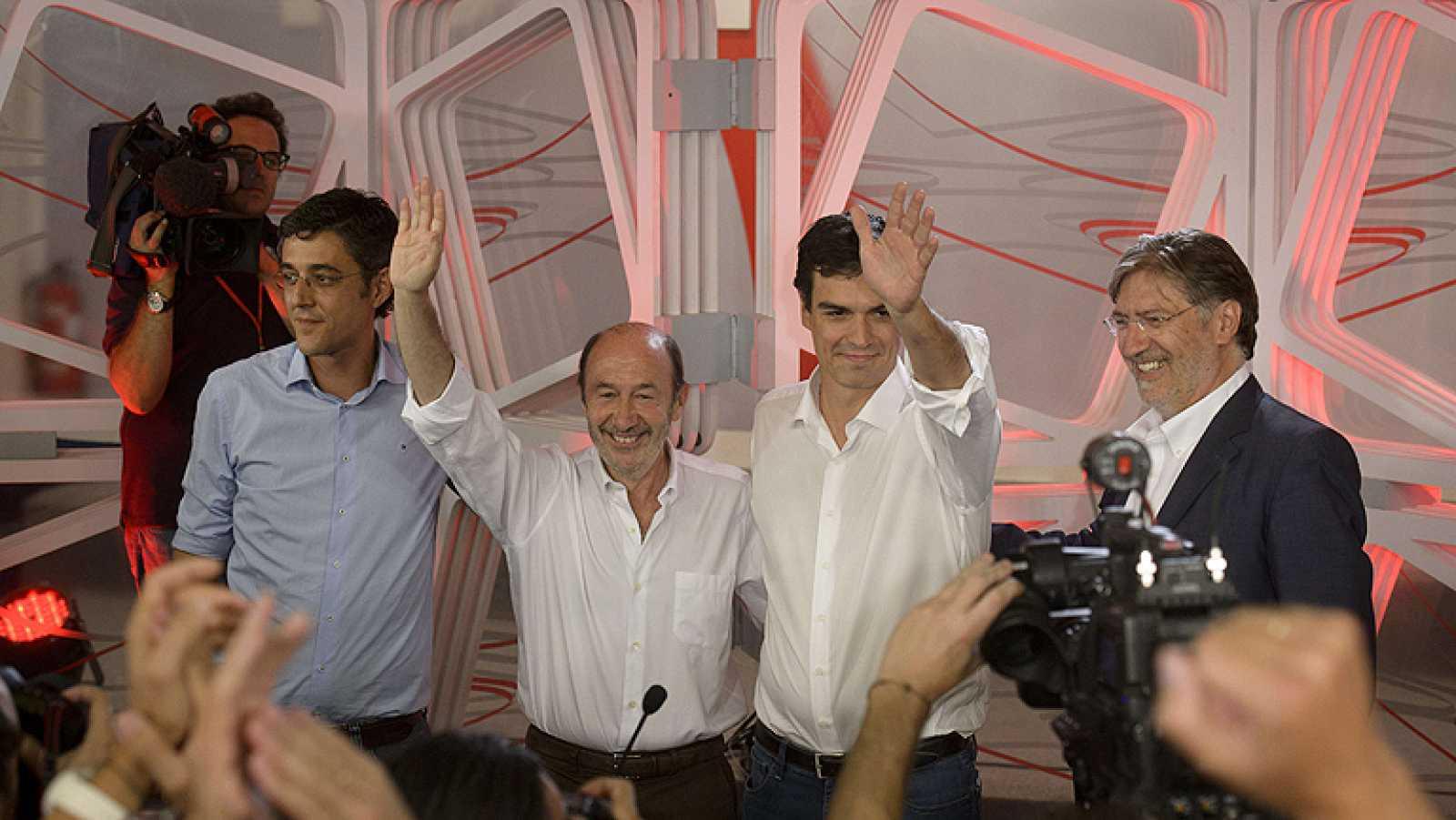 Los aspirantes a liderar el PSOE comparecen juntos tras la victoria de Pedro Sánchez