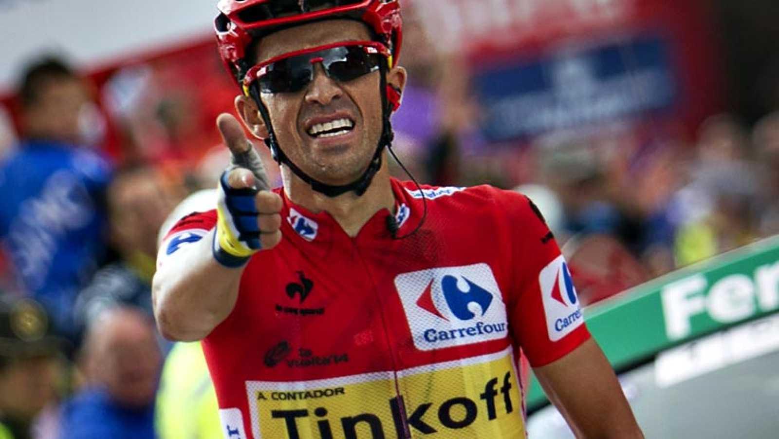 El español Alberto Contador, del equipo Tinkoff, ha ganado este lunes la etapa reina de la Vuelta a España, disputada entre San Martín del Rey Aurelio y La Farrapona-Lagos de Somiedo sobre 160,5 kilómetros, por lo que reforzó el liderato. Contador ll