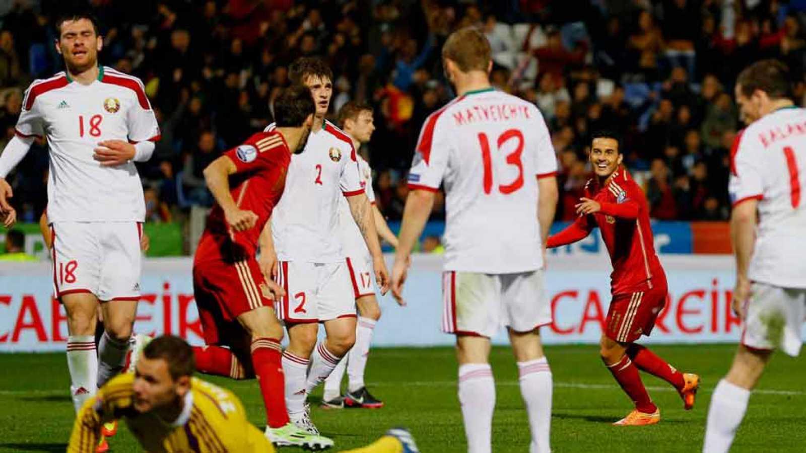 El delantero canario Pedro Rodríguez ha marcado el 3-0 ante Bielorrusia en el minuto 55 de juego, tras una jugada combinativa con Juanfran y Cazorla.