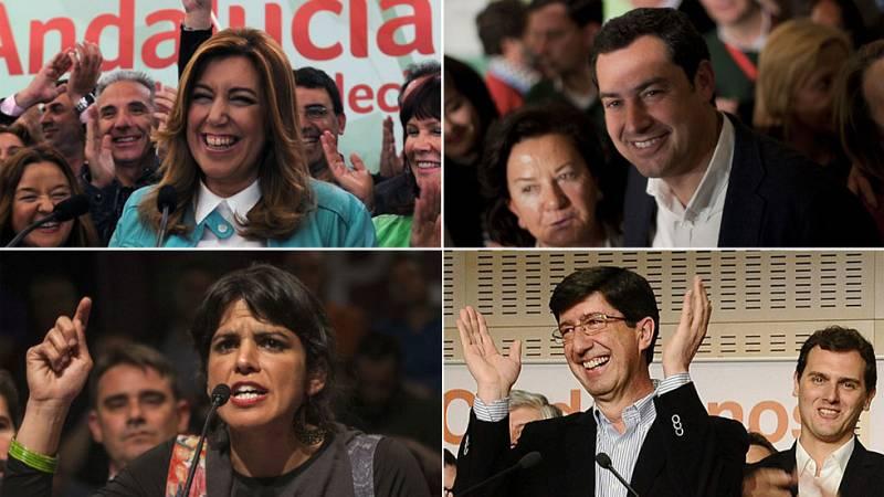 """Díaz califica de """"historica"""" la victoria del PSOE mientras que el resto de partidos apela a la fragmentación del Parlamento"""