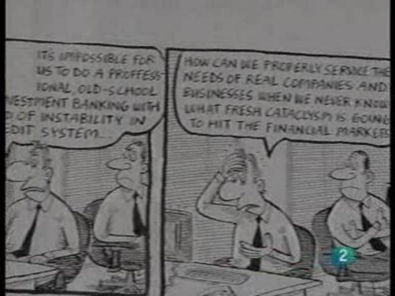 Dos caricaturistas británicos retratan la crisis en sus tiras cómicas.