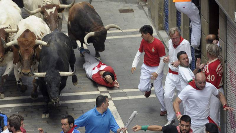 Segundo encierro de San Fermín 2015 con toros de El Tajo y La Reina