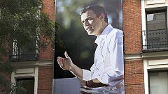 El PSOE cubre la fachada de Ferraz con una foto gigante de Sánchez con vistas al 20D