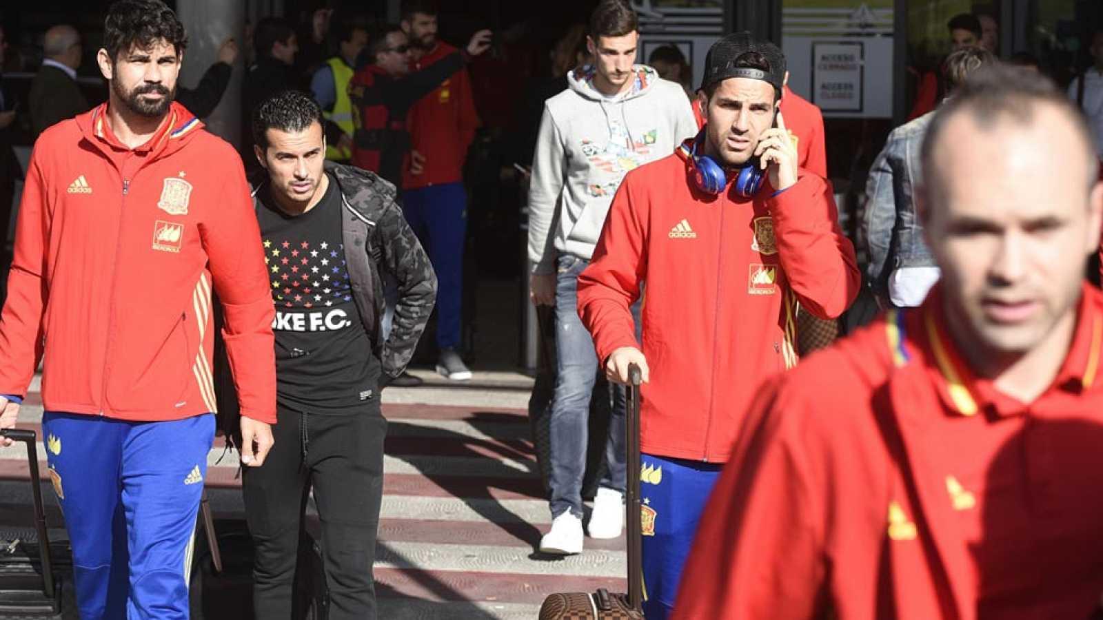 La Selección Española llega a Madrid