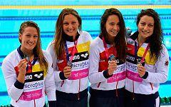 España, plata europea en la final de los 4x200 femeninos