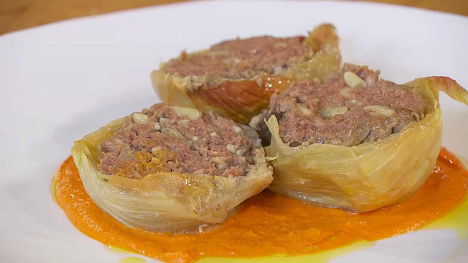 Receta de cebolla rellena de carne y piñones
