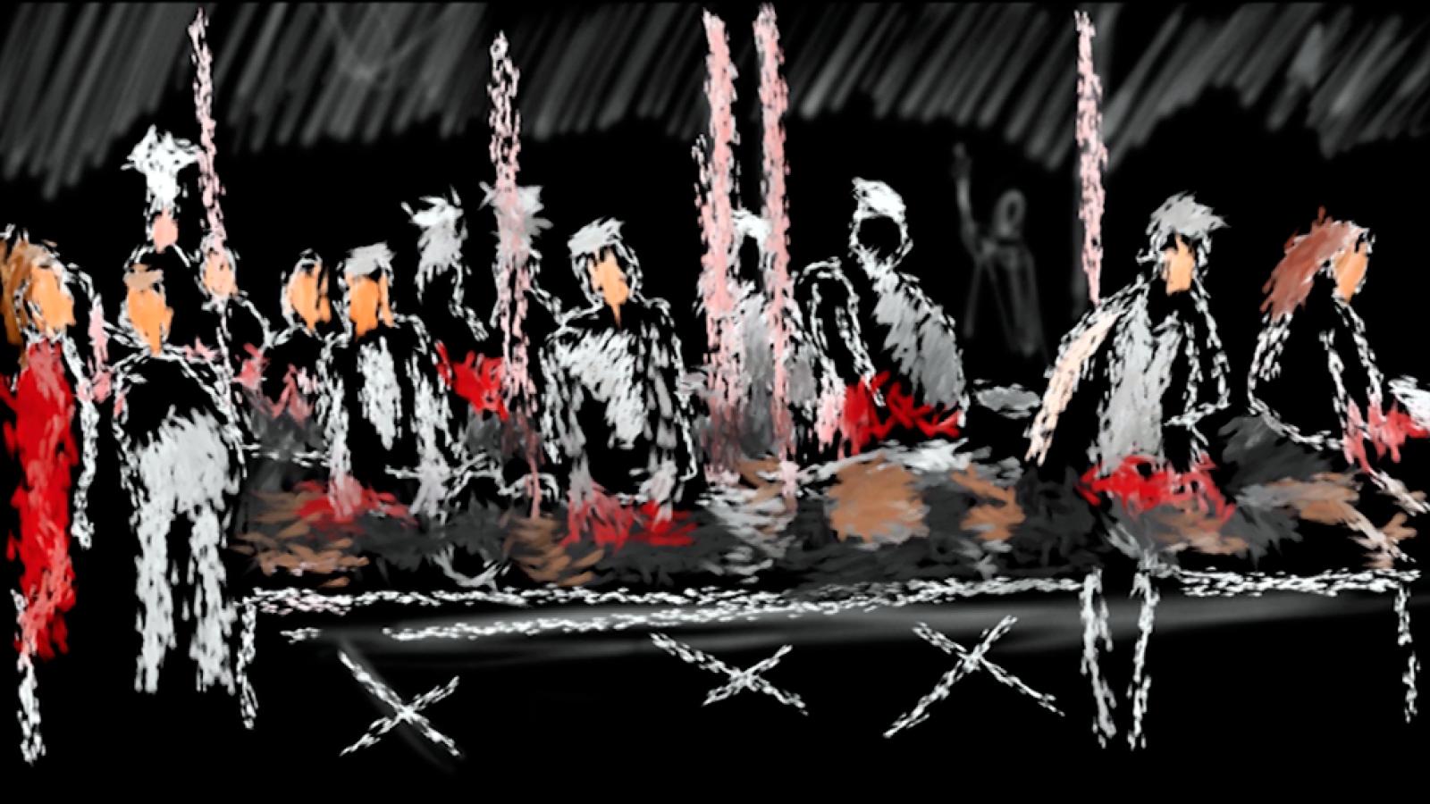 La cocina - Paso a paso del boceto de una escena de la obra teatral 'La cocina'
