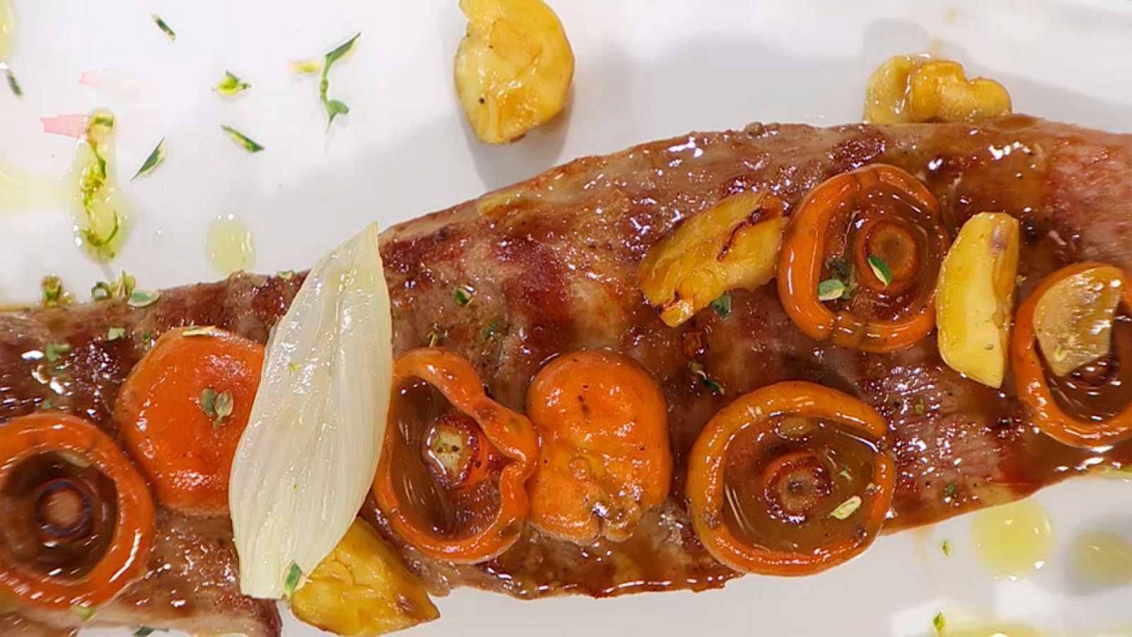 Receta de Solomillo de cerdo con hongos y castañas