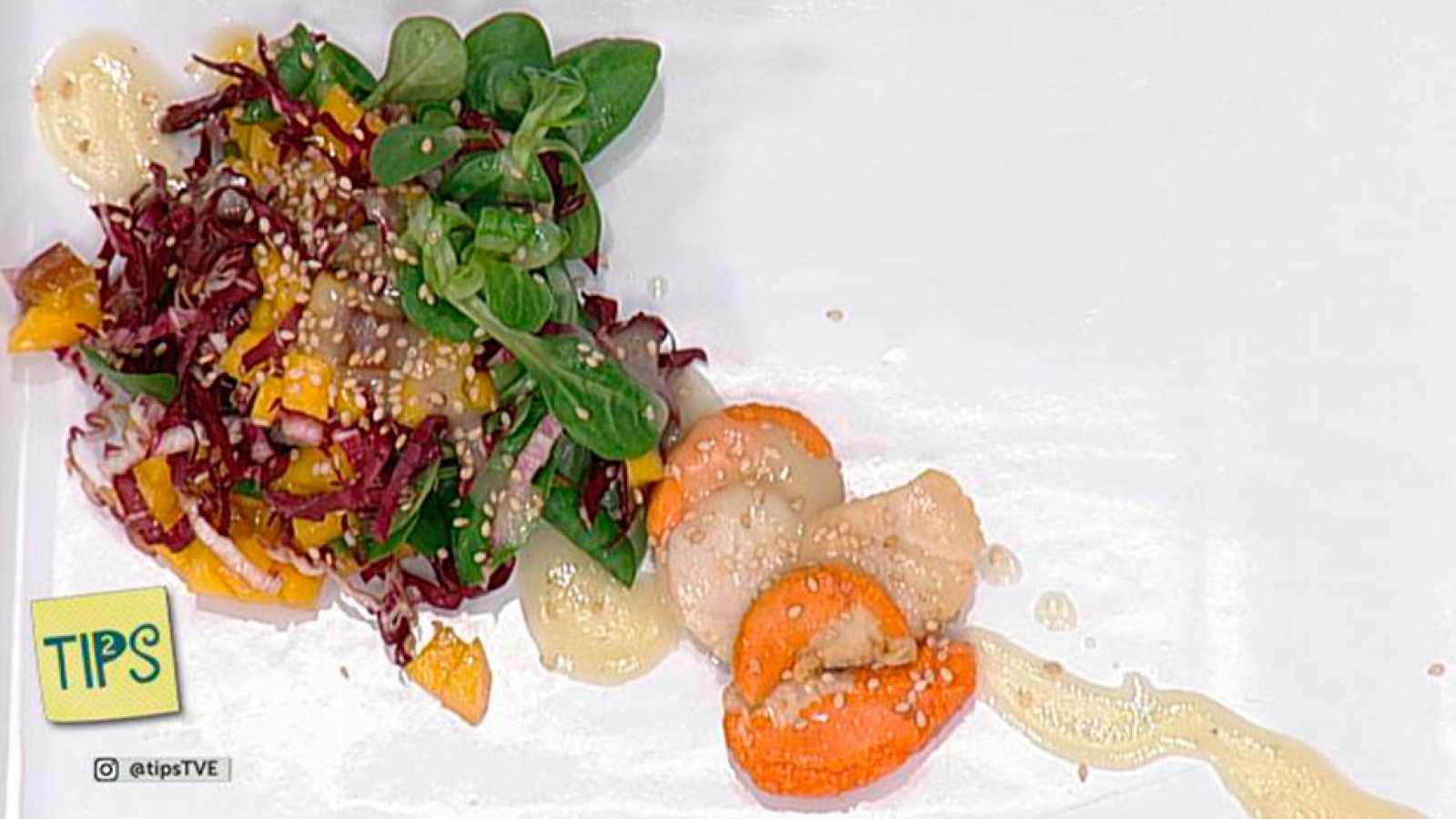 TIPS - Cocina - Ensalada de vieiras y vinagreta de cava