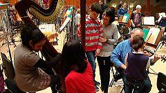 La orquesta de RTVE realiza una clase magistral de música para niños ciegos