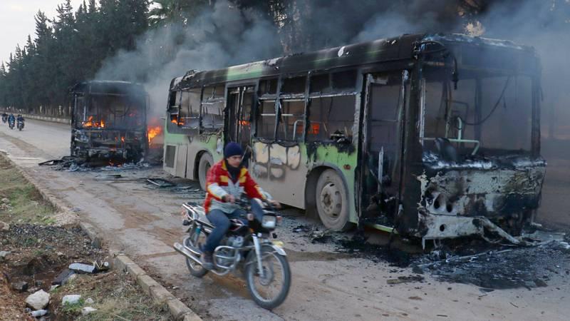 uspenden la evacuación de civiles y rebeldes en Alepo tras la quema de autobuses