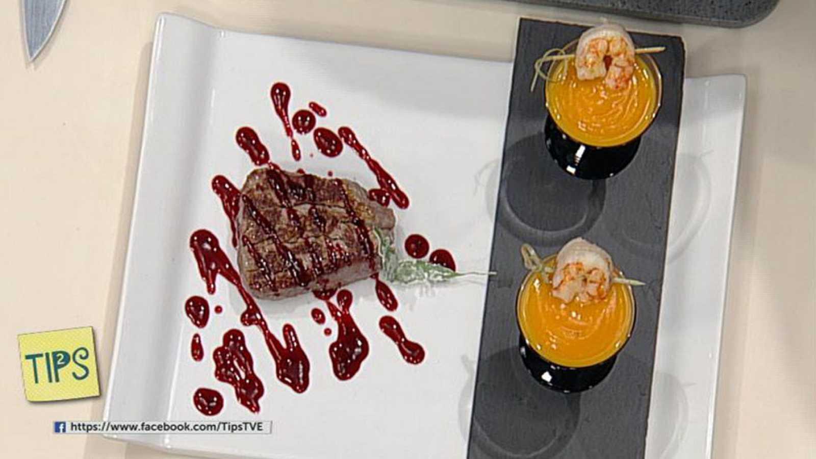 TIPS - Cocina - Crema bicolor, Solomillo de ternera con salsa frambuesa
