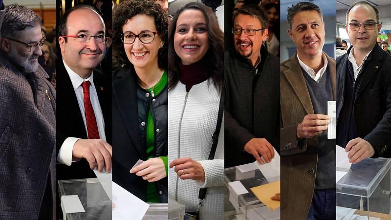 Los candidatos a las elecciones catalanas votan entre largas colas