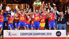 Europeo de balonmano 2018. Los Hispanos alzan su trofeo de campeones de Europa